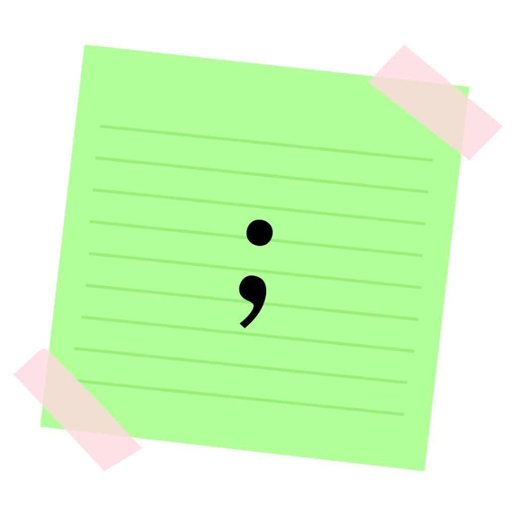 A semicolon on a piece of paper